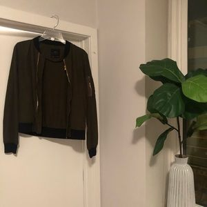 Zara Army Green Bomber Jacket with Gold Detail